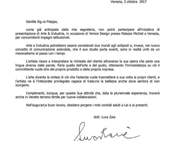 Lettera del Presidente della Regione Veneto